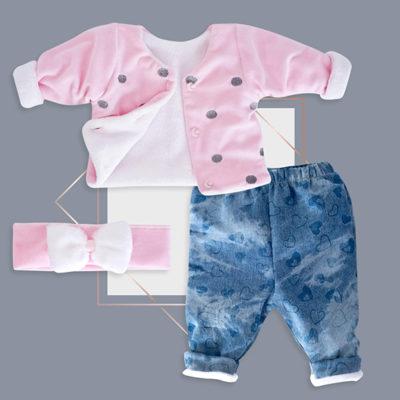 חליפה לתינוקת 3 חלקים ורוד גינס בייביז מול