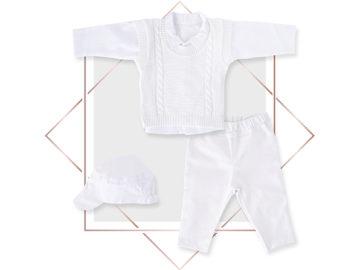 חליפה לבנה לתינוק בנים לברית, אפודה צבע לבן בייביזמול