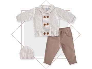 חליפת קרדיגן בנים מעוצבת 3 חלקים אופוויט מלאנג בייביזמול