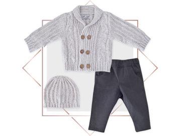חליפת קרדיגן בנים מעוצבת 3 חלקים אפור מלאנג בייביזמול