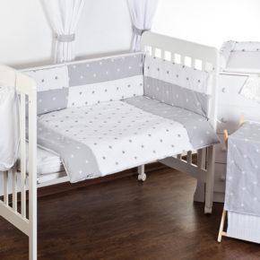 סט מצעים למיטת תינוק כוכבים אפור בייביזמול