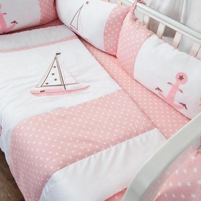 סט מצעים למיטת תינוק עוגנים ורוד בייביזמול