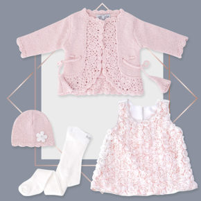 שמלה לתינוקת ורדים קרדיגן מעוצב ורוד בייביזמול