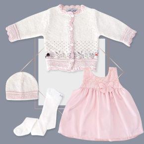 שמלה לתינוקת סאטן קרדיגן בנות מעוצב שילוב רקמה והדפס ורוד בייביזמול