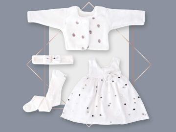 שמלה לתינוקת שיפון רקמה נקודות ג'קט מעוצב בייביזמול