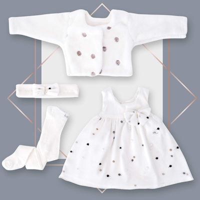 שמלה לבנה לתינוקת שיפון רקמה נקודות ג'קט מעוצב בייביזמול