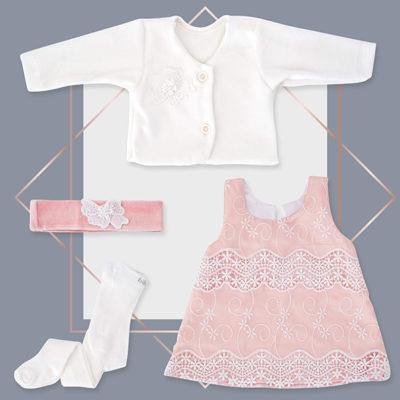 שמלה לתינוקת תחרה לתינוקת ג'קט מעוצב בייביז מול
