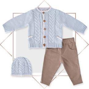 חליפת קרדיגן בנים מעוצבת 3 חלקים תכלת בייביזמול