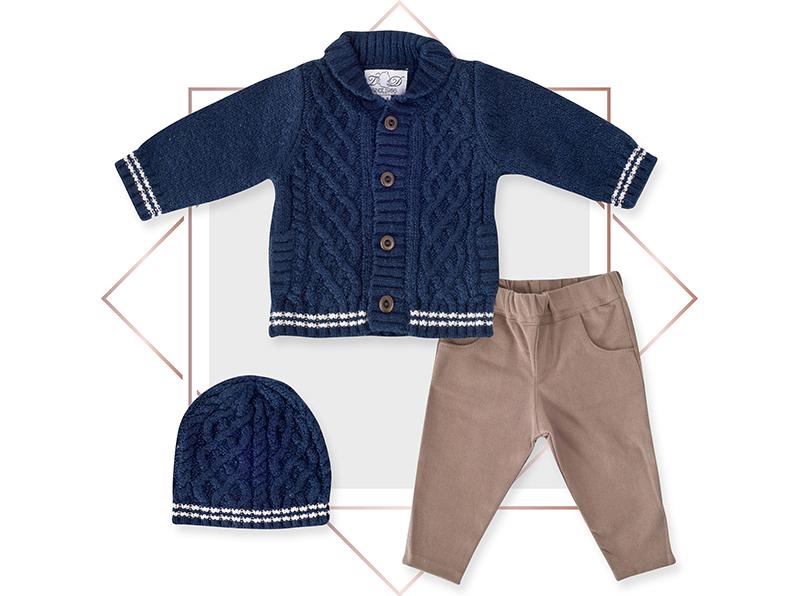 חליפה לתינוק קרדיגן בנים מעוצבת 3 חלקים כחול נייבי בייביזמול