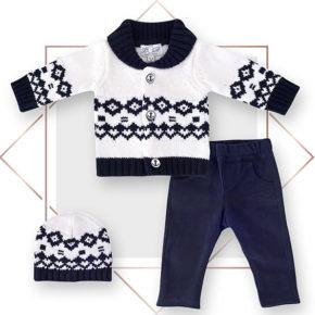 חליפת תינוקות קרדיגן בנים מעוצבת 3 חלקים קרם שילבו כחול נייבי בייביזמול