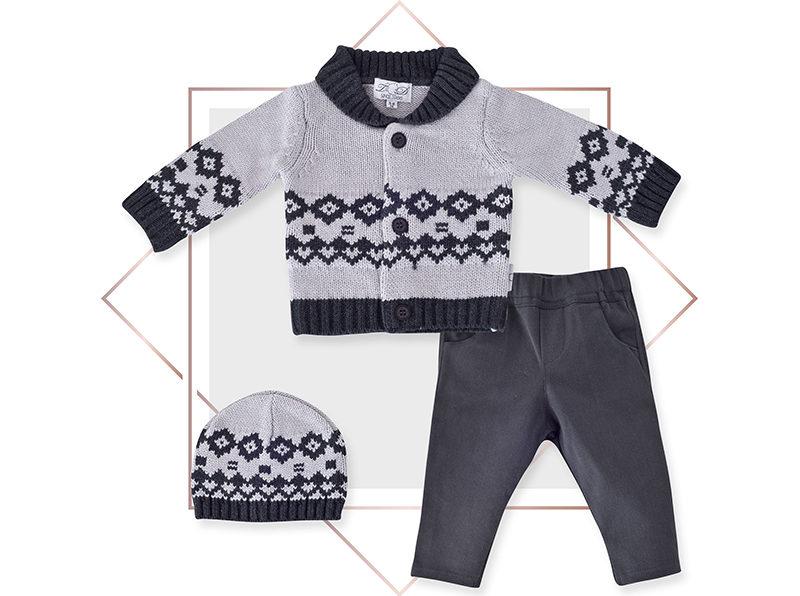 חליפה לתינוקות קרדיגן מעוצבת אפור בייביזמול