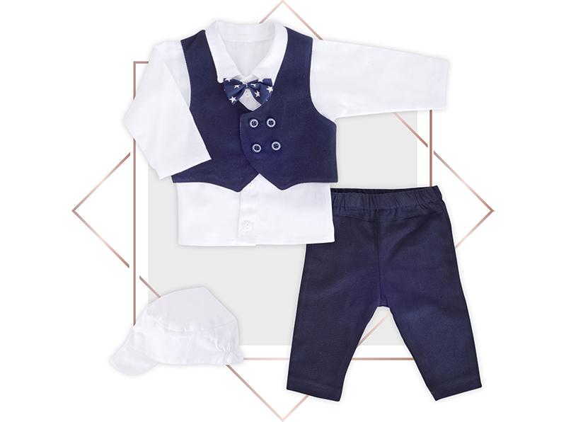 חליפת וסט כחול נייבי בנים 4 חלקים בייביזמול