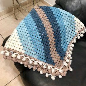 שמיכה סרוגה למיטת תינוקות