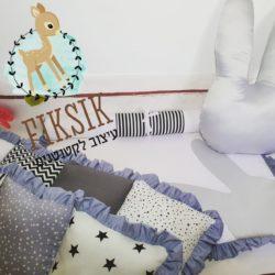 """סט למיטת תינוק דגם """"ארנב אפור"""""""