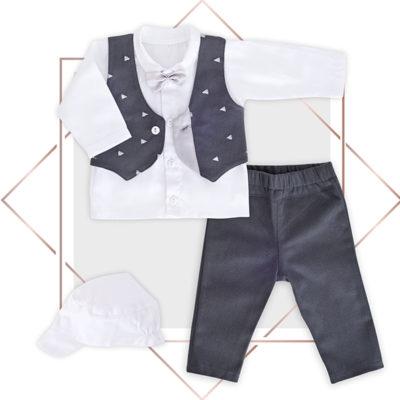 חליפת ווסט לתינוק שילוב סטן ורקמה משולשים בייביזמול
