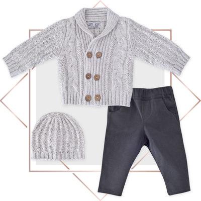חליפה לתינוק קרדיגן בנים מעוצבת 3 חלקים אפור מלאנג בייביזמול