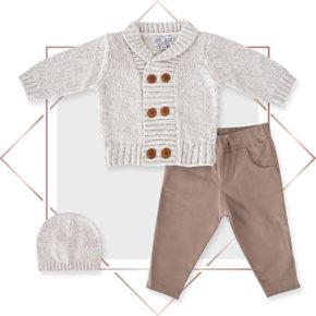 חליפה לתינוקות קרדיגן בנים מעוצבת 3 חלקים אופוויט מלאנג בייביזמול