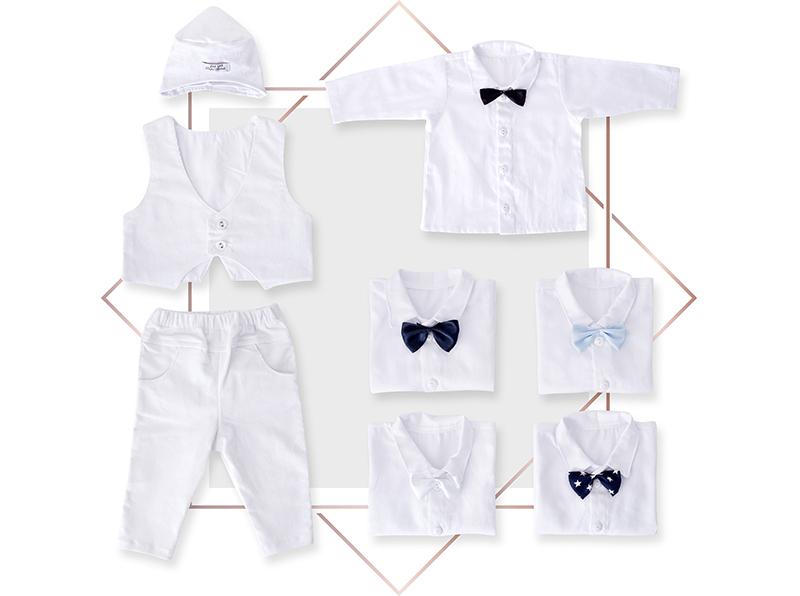 חליפת ווסט לתינוק בנים לבנה 4 חלקים קורדרוי עדין בייביזמול