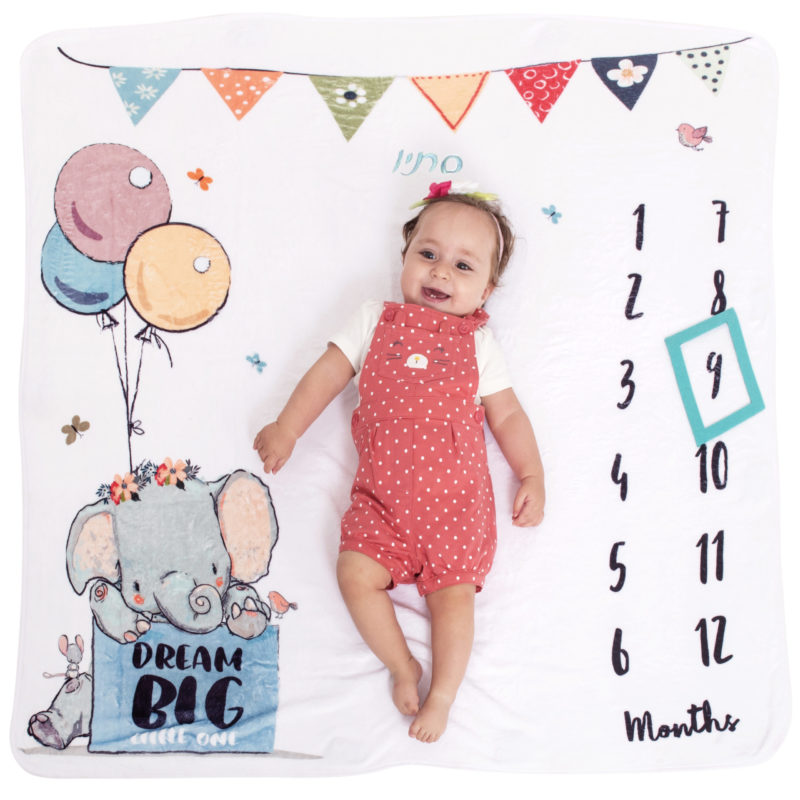 שמיכת חודשים לתינוק לתיעוד השנה הראשונה דגם פיל | שמיכת תינוק מעוצבת | מתנה מקורית ליולדת