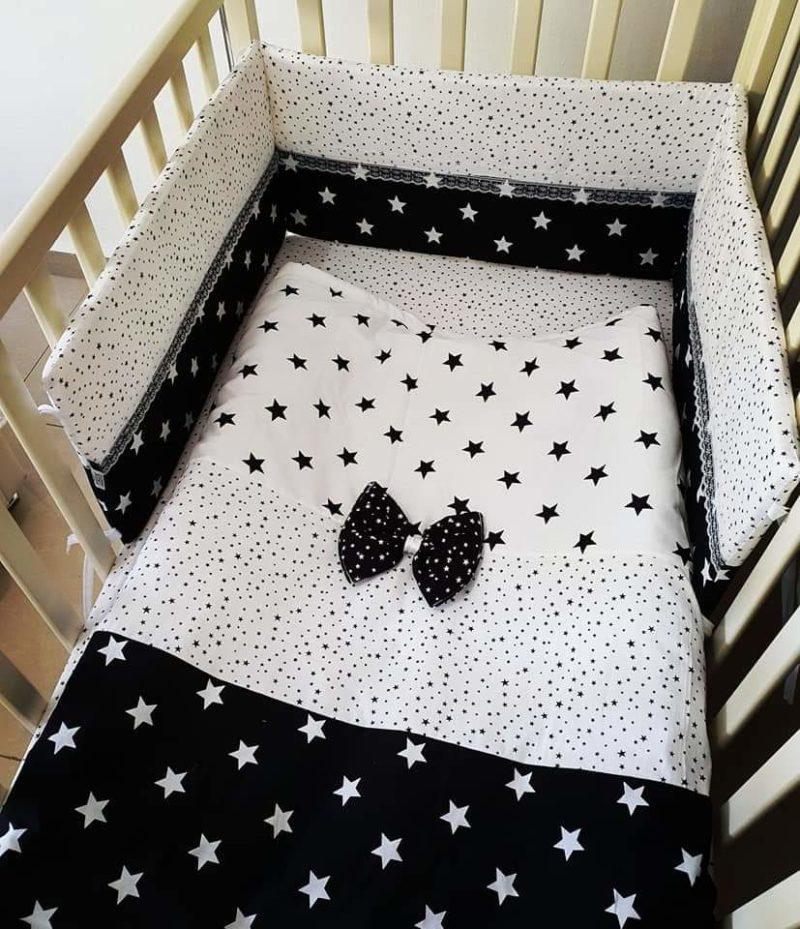 סט מצעים למיטת תינוק - שחור לבן