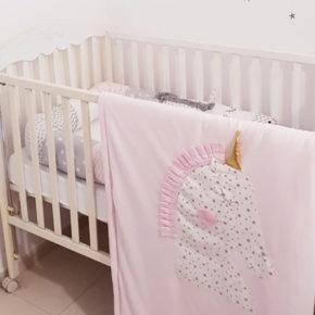 שמיכה חד קרן המתאימה למיטה, עריסה או עגלת תינוק ורוד