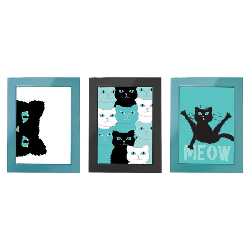 """סט עיצוב חדר דגם """"חתול פורח"""" תמונות קיר"""