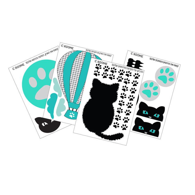"""סט עיצוב חדר דגם """"חתול פורח"""" מדבקות קיר"""
