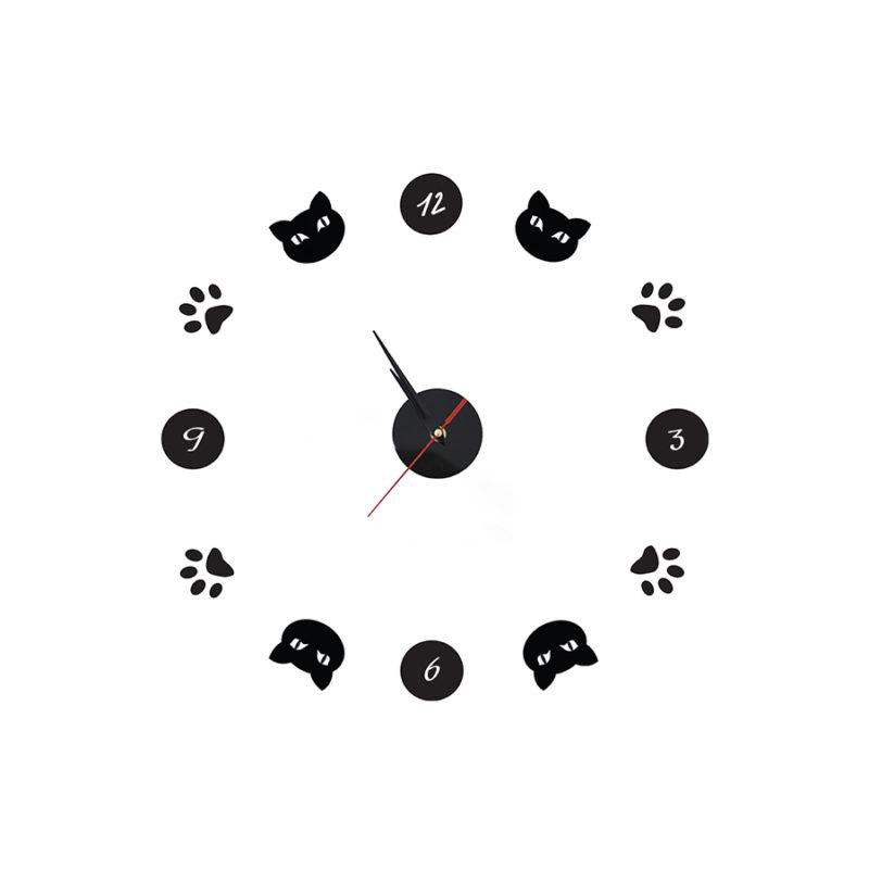 """סט עיצוב חדר דגם """"חתול פורח"""" שעון קיר"""