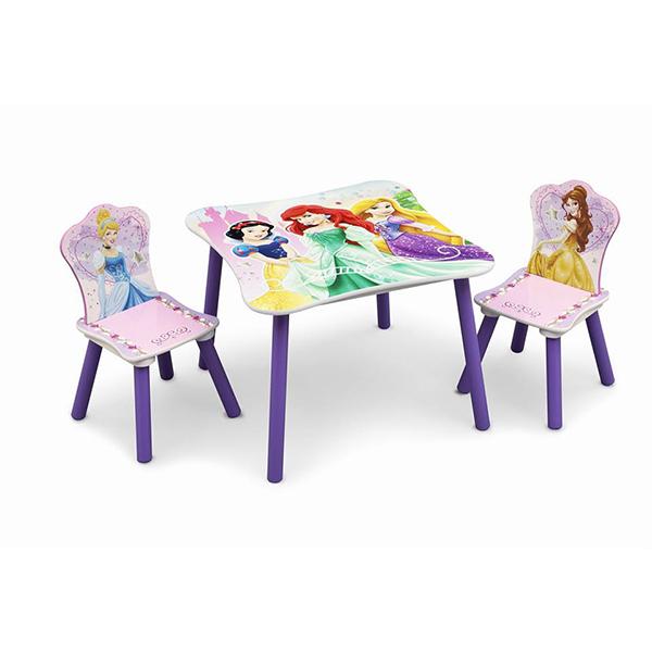 שולחן וכיסאות לילדים מעץ נסיכות סגול