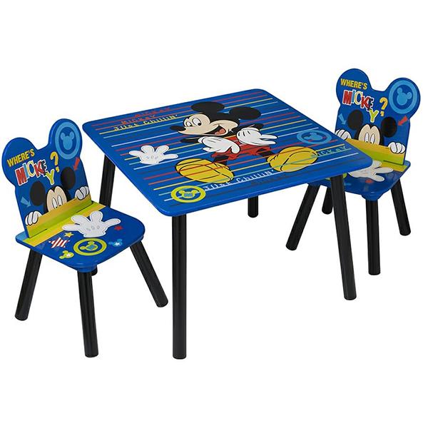 שולחן וכיסאות לילדים מעץ מיקי מאוס כחול