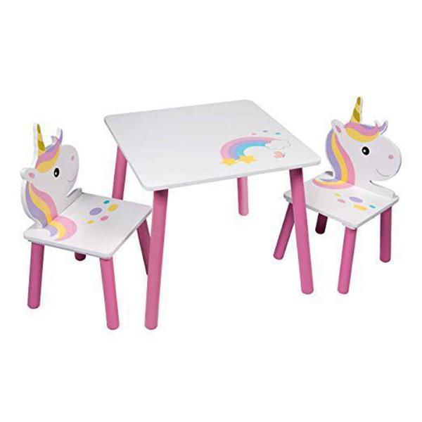 שולחן וכיסאות לילדים מעץ חד קרן