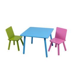 שולחן וכיסאות מעץ לילדים - צבעוני