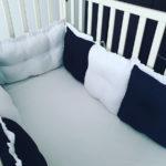 מגן ראש כריות למיטת תינוק דגם פיקה שחור לבן