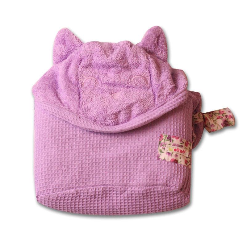 מגבת רחצה לתינוקות וילדים, עם קשירה לצוואר ההורה