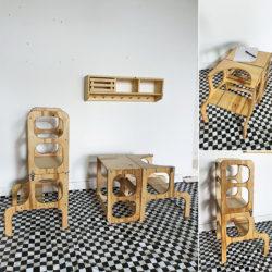 """מגדל למידה מתקפל דגם """"שולחן וכיסא"""""""
