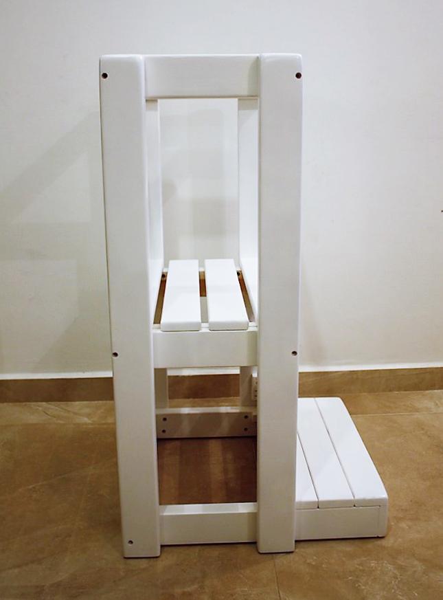 מגדל למידה מעץ מלא דגם Restorica צבע לבן