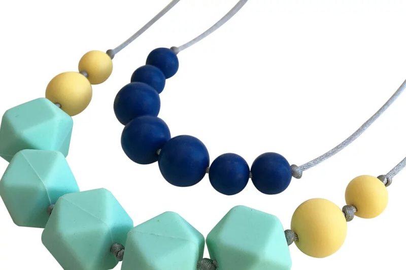 שרשרת הנקה סיליקון טורקיז כחול צהוב