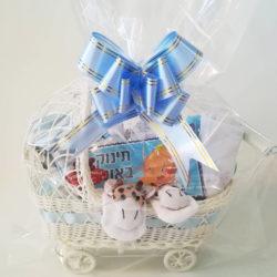 מארז מתנה ליולדת - עגלה כחול