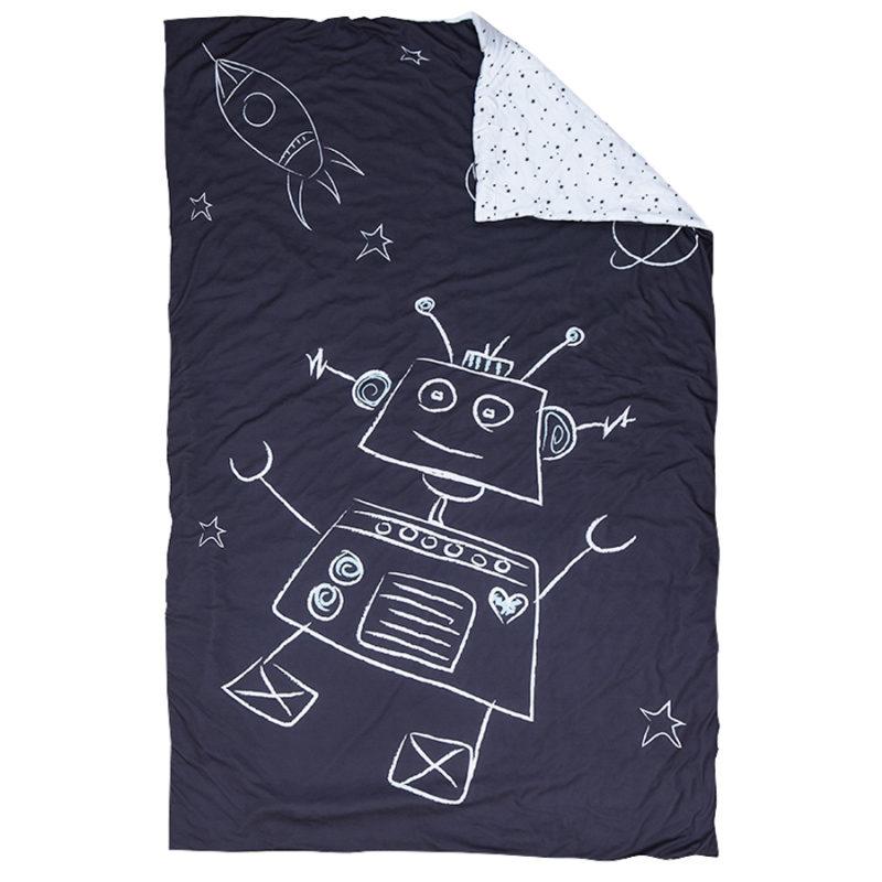 """סט עיצוב חדר דגם """"רובוט על חלל"""" שמיכה לחדר ילדים"""