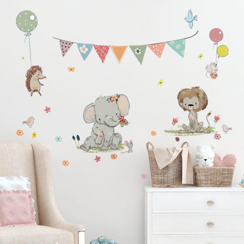 מדבקות קיר ספארי לחדר תינוקות