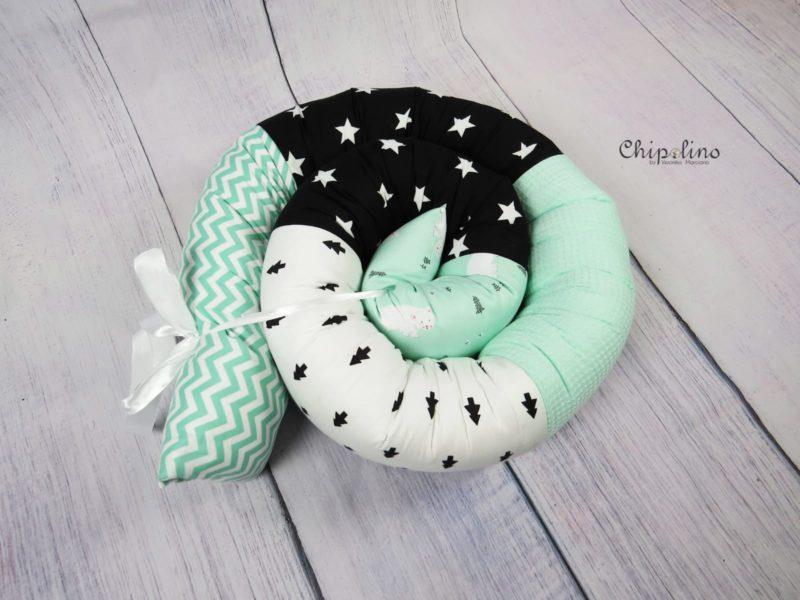 נחשוש לעגלה או למיטת תינוק ירוק מנטה