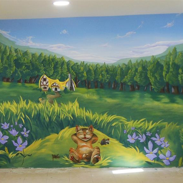 ציור קיר לחדר ילדים - חתול בטבע