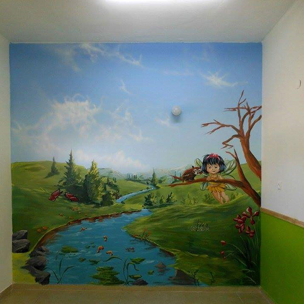 ציור קיר לחדר ילדים - פיה בטבע