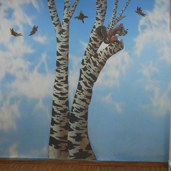 ציור קיר לחדר ילדים חיות
