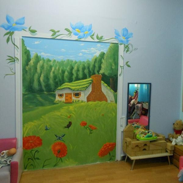 ציור קיר לחדר ילדים - בית בכפר