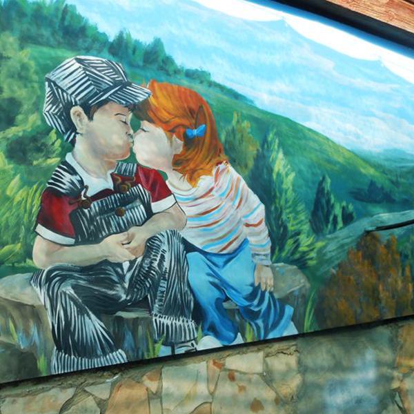 ציור קיר לחדר ילדים - ילד וילדה